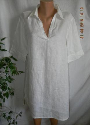 Белое платье рубашка лен tu