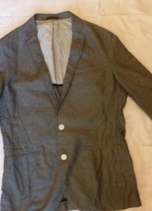 Летняя распродажа!!! стильный натуральный пиджак цвет под джинс 100 % котон люкс
