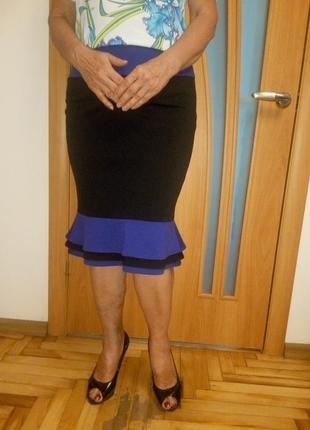 Стильная комбинированная теплая юбка