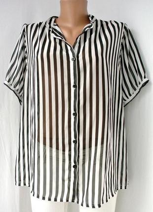 """Модная блузка """"new look"""" в вертикальную черную полоску.размер uk 16."""