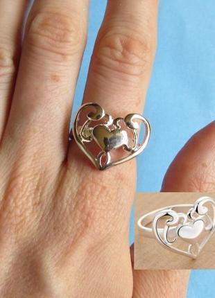 Кольцо в серебре сердце,925, 18 р., новое! арт.109493
