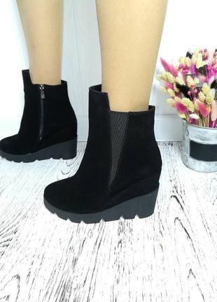 Новые осенние чёрные ботинки на платформе натуральный замш размер 36, 38