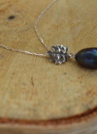 Серебряная подвеска, кулон с черным жемчугом ′листик′