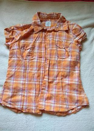 Оранжевая рубашка в клеточку