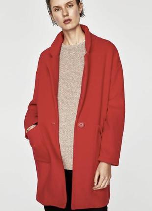 Лёгкое красное пальто zara oversize на одну пуговицу