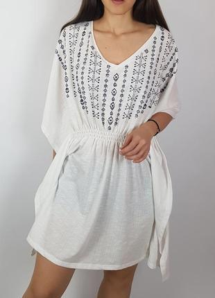 Летняя туника платье с вышивкой marks&spencer m&s вискоза размер l
