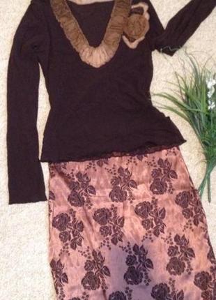Блуза шелковая отделка  цветком из натурального шелка 100%