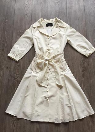 Светлое платье-плащ в стиле 50-х, ретро, свадебное; размер 36-38