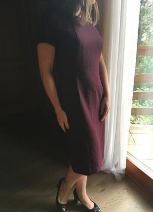 Классическое офисное прямое миди платье цвета марсала
