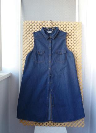 Джинсовая летняя рубашка-туника