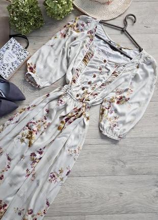 Платье миди в цветочный принт. на пуговицах