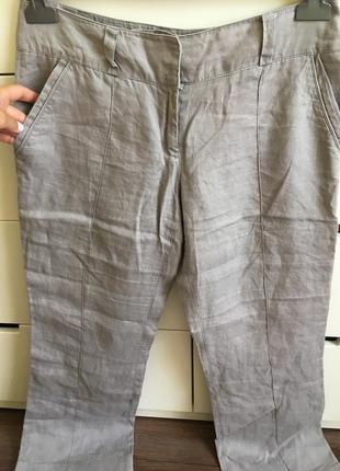 Серые льняные штаны