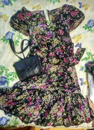 Платье, шифоновое платье, платье с цветами, рюша
