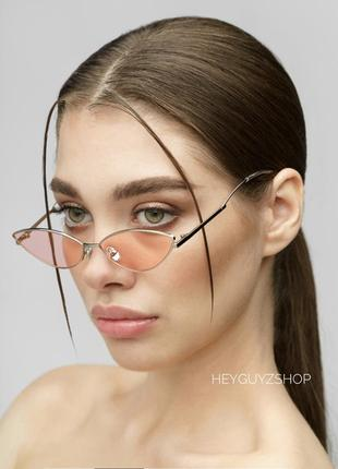 Узкие очки стеклянные розовые ретро винтажные в стиле 90-х кошачий глаз кошечки лисички