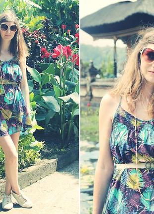 Летнее платье туника h&m с тропическим принтом,пальмами