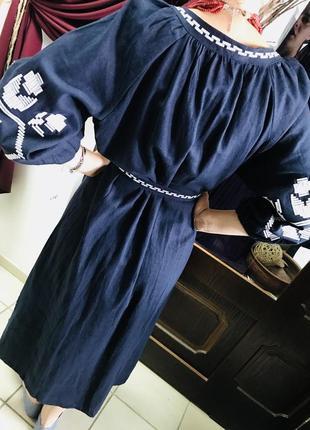 Шикарное платье с вышивкой вышиванка лён вишиванки льон размер л, хл4