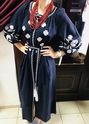 Шикарное платье с вышивкой вышиванка лён вишиванки льон размер л, хл