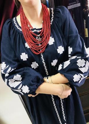 Шикарное платье с вышивкой вышиванка лён вишиванки льон размер л, хл3