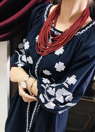Шикарное платье с вышивкой вышиванка лён вишиванки льон размер л, хл2