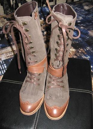 Кожаные/замшевые ботинки в стиле бохо/stradivarius