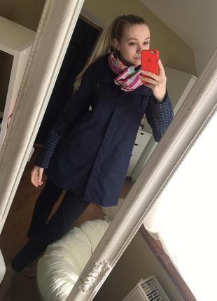 Роскошный прямой плащ/пальто/ тренч темно синего цвета