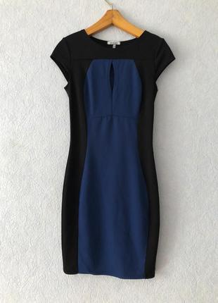 Комбинированое платье черное с синим