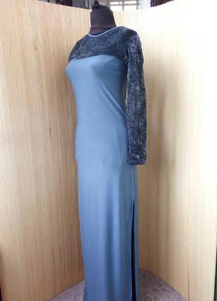 Английское трикотажное длинное платье с сеткой паутинкой s/m2 фото