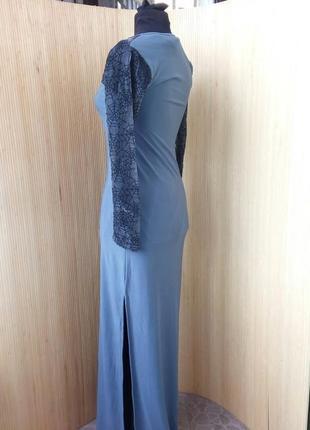 Английское трикотажное длинное платье с сеткой паутинкой s/m3 фото