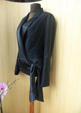 Чёрный жакет фрэнч тонкая шерсть в деловом стиле m/l