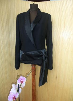 Чёрный жакет тонкая шерсть в деловом стиле m/l2
