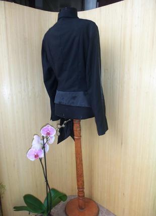 Чёрный жакет тонкая шерсть в деловом стиле m/l4