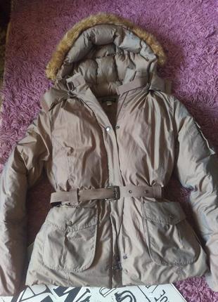 Зимняя куртка короткий пуховик размер с поясом
