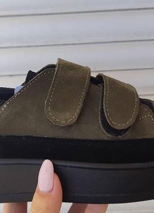 Натуральные кроссовки кеды на липучках