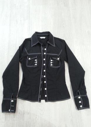 Черная стильная рубашка s-m