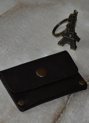 Монетница кожаная кошелек для мелочи