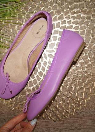 (36р./23см) lands`end! кожа! красивые туфли, балетки на низком ходу
