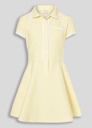 Красивое платье в желтую клеточку на девочку 9 лет, идеально для школы