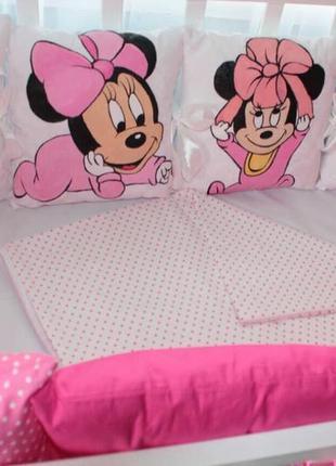Комплект в кроватку, с бортиками на 4 стороны + постель
