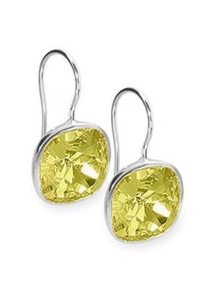Серьги из серебра с желтым камнем swarovski