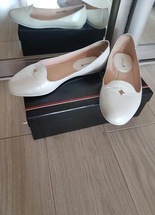 Балетки мокасины туфли 38р перламутровая кожа