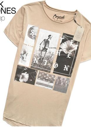 Jack & jones мужская удлинённая футболка с принтом, новая с биркой