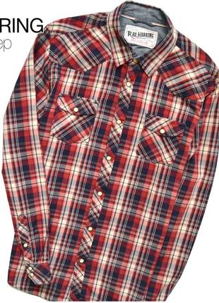 Red herring - мужская рубашка в красно-синюю клетку, на кнопках.