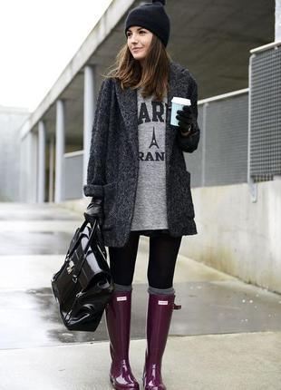 Серое чёрное пальто пиджак твидовое пушистое бойфренд, оверсайз, oversize, s zara