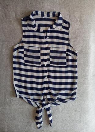 Полупрозрачная рубашка с воротником без рукавов на завязках pimkie
