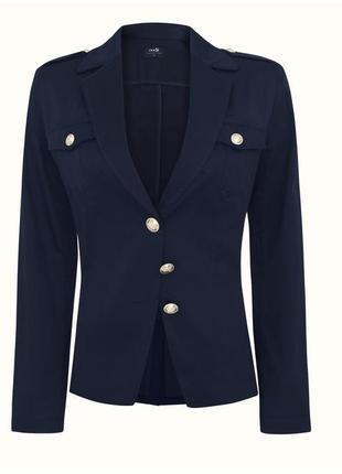 Синий пиджак без подкладки с погонами, школьная форма