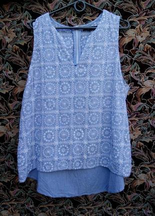 Блуза майка хлопок с вышитым принтом 20р