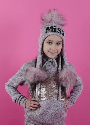 Все размеры! теплая и красивая шапка miss хомут для маленьких принцесс