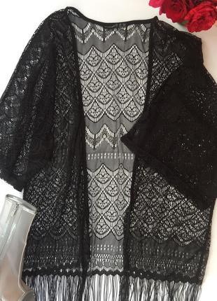 Шикарная пляжная накидка кимоно с бaхромой atmosphere