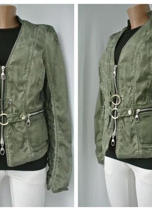 Стильная куртка хаки с потертостями biba размер 12/40 m.