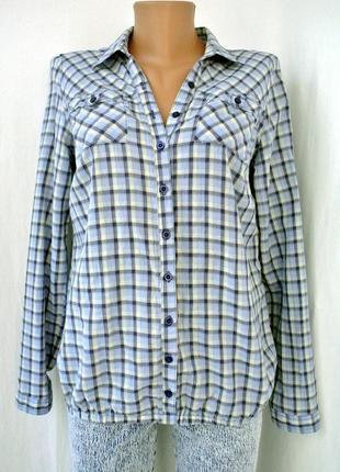 Стильная брендовая рубашка в клеточку clockhouse. размер м.